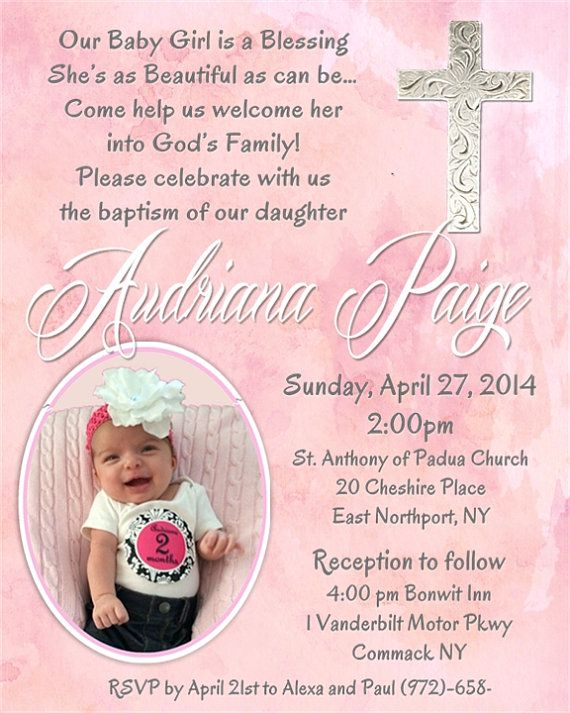 Custom christening baptism baby dedication invitation with picture custom christening baptism baby dedication invitation with picture negle Image collections