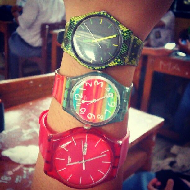 Swatch triple watch wrist rock. #style