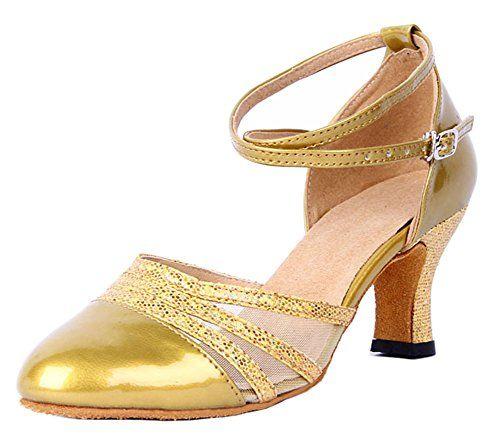 Honeystore Damen's Peep Toe mittelhohem Absatz Latein Tanzschuhe Gold 35.5 EU Gx5Ru