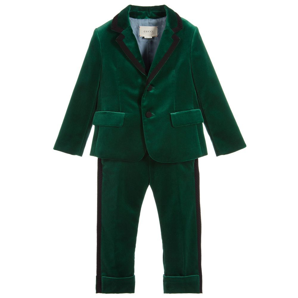 58bbbaabf Boys Green Velvet Suit for Boy by Gucci. Discover the latest designer Suits  for kids online