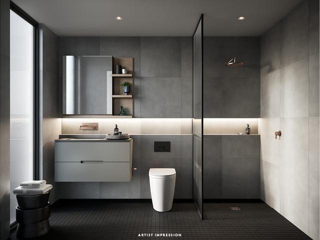 Gray Bathroom Inspiration With Horizontal Niche Detail