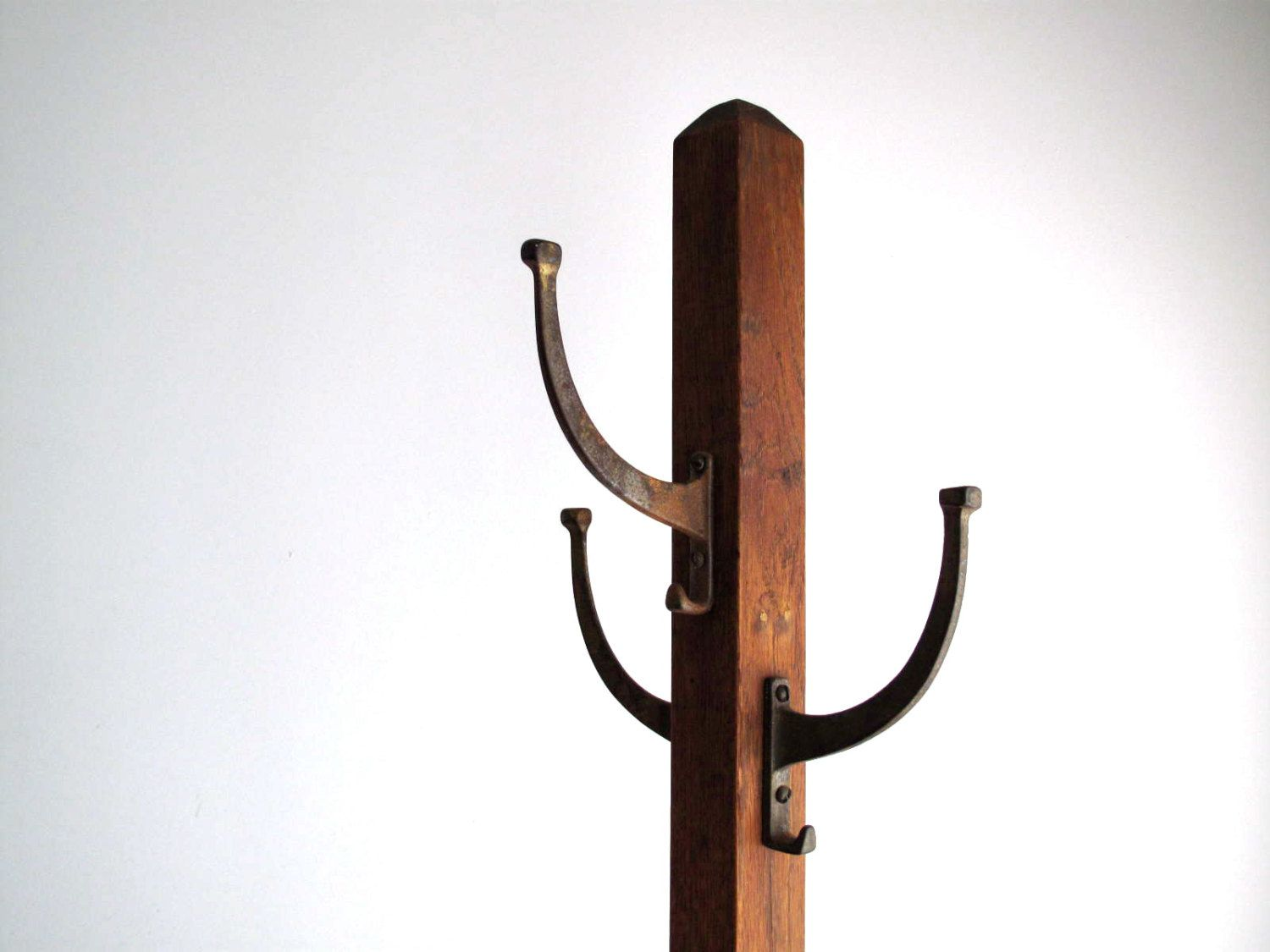 vintage products chunky rack wooden coat limited eightyfive hooks cast iron oak handmade side carpentry
