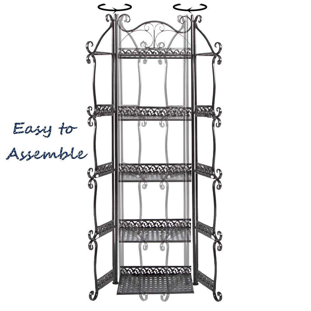 Hebensi 5 Tier Versatile Foldable Stand Wire Shelf Shelving Unit