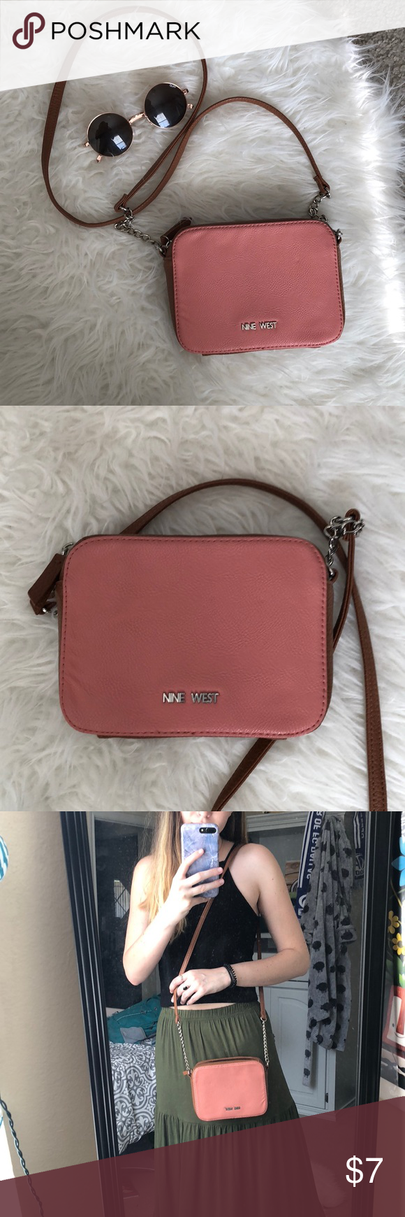 "a73207a621e 💕PINK NINE WEST PURSE💕 NINE WEST pink and brown 5"" by 2"" 🌞Cute small  purse to pair with any summer look🌞 Nine West Bags Mini Bags"