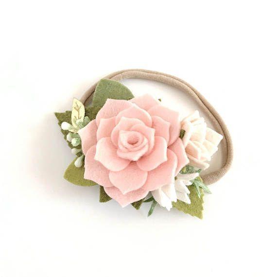 Pink Succulent Felt Flower Crown. Dainty Floral Headband. #feltflowerheadbands
