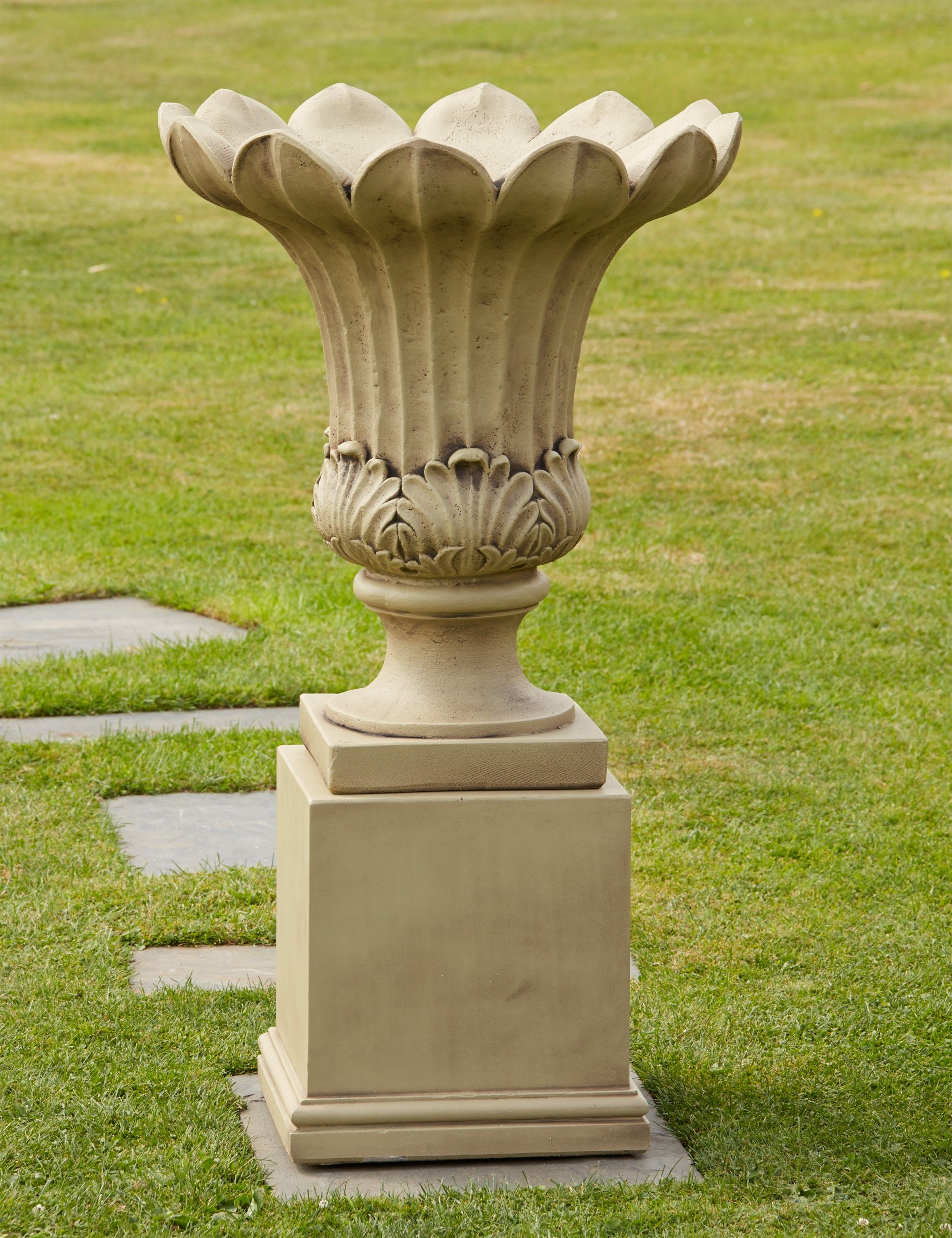 Annecy Stone Vase On Pedestal Large Garden Planter. Buy Now At Http://