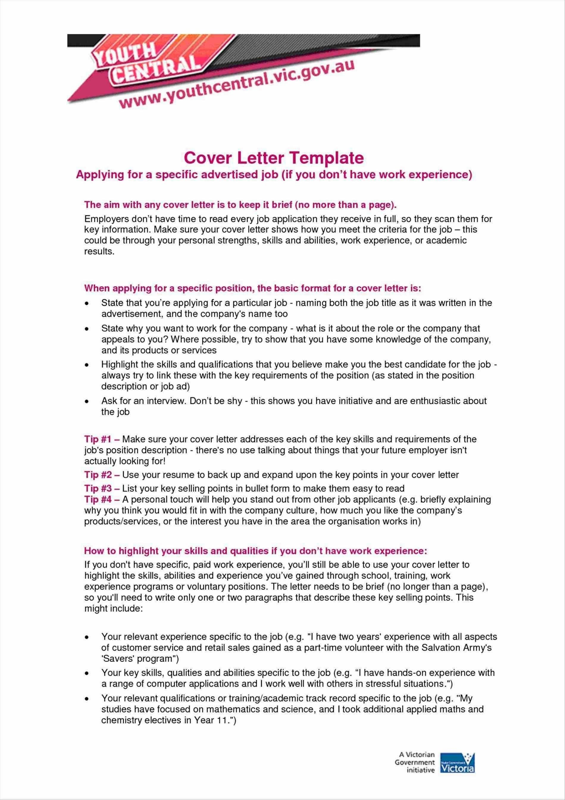 Cover Letter Template Victorian Government
