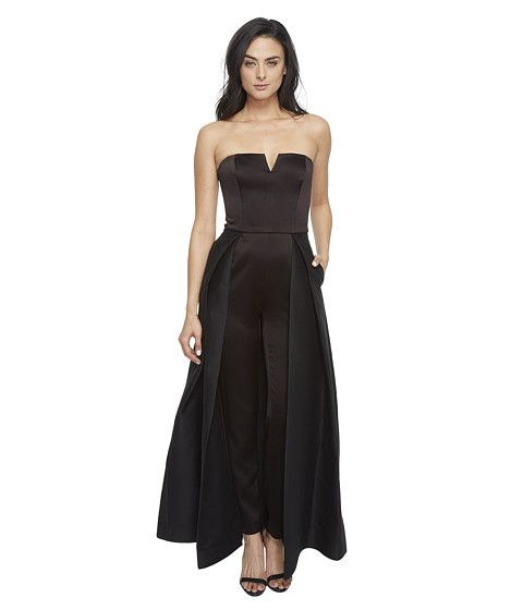 57554b268faa HALSTON HERITAGE Strapless Jumpsuit With Structured Skirt Overlay.   halstonheritage  cloth  jumpsuits   rompers