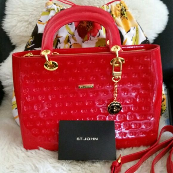 St John Purse Authentic Red In Pristine Condition Like New Comes With Dust Bag Bags Crossbody