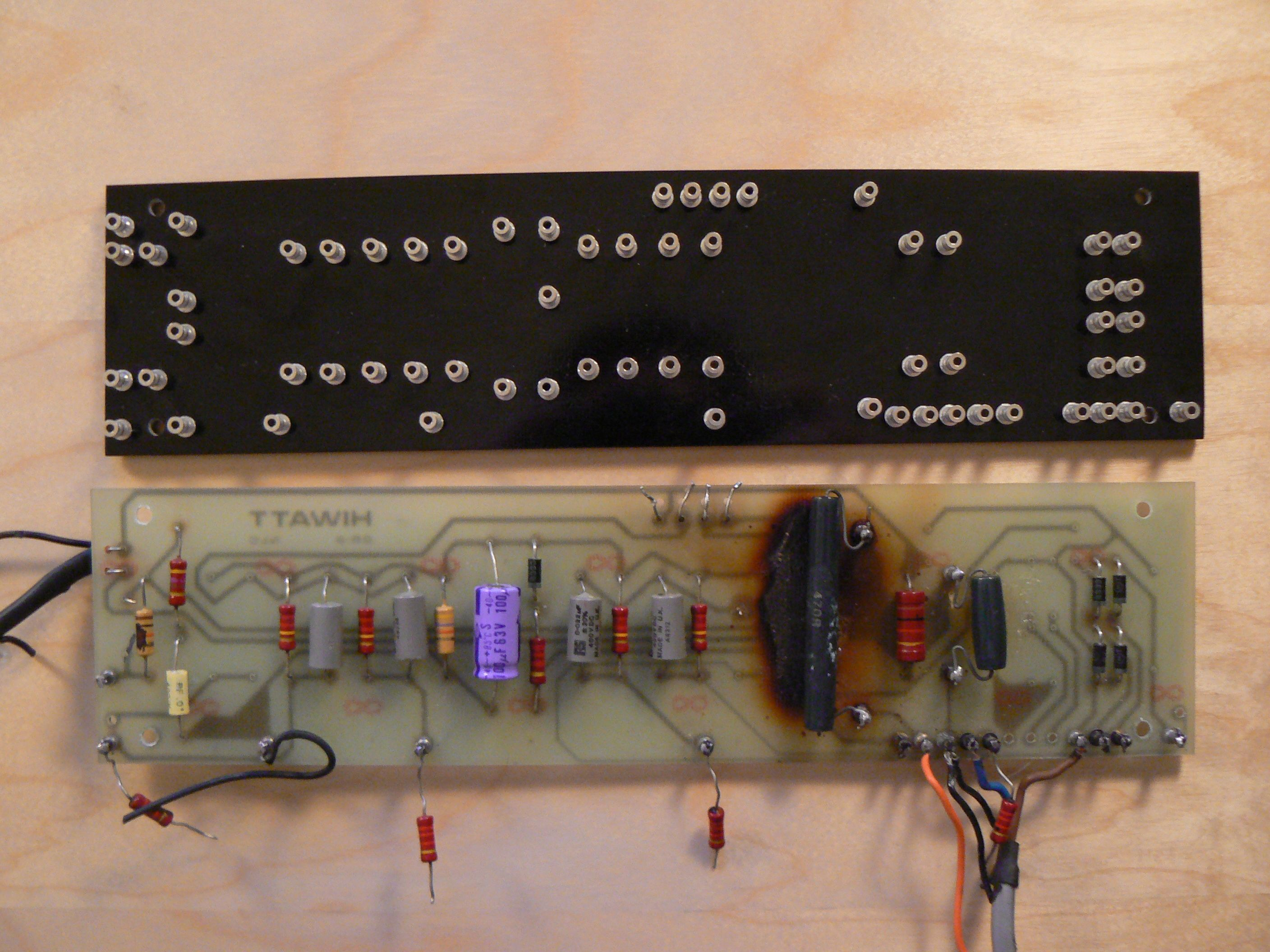 hiwatt ol103 restoration old burnt power supply board and new replacement turret board  [ 2816 x 2112 Pixel ]