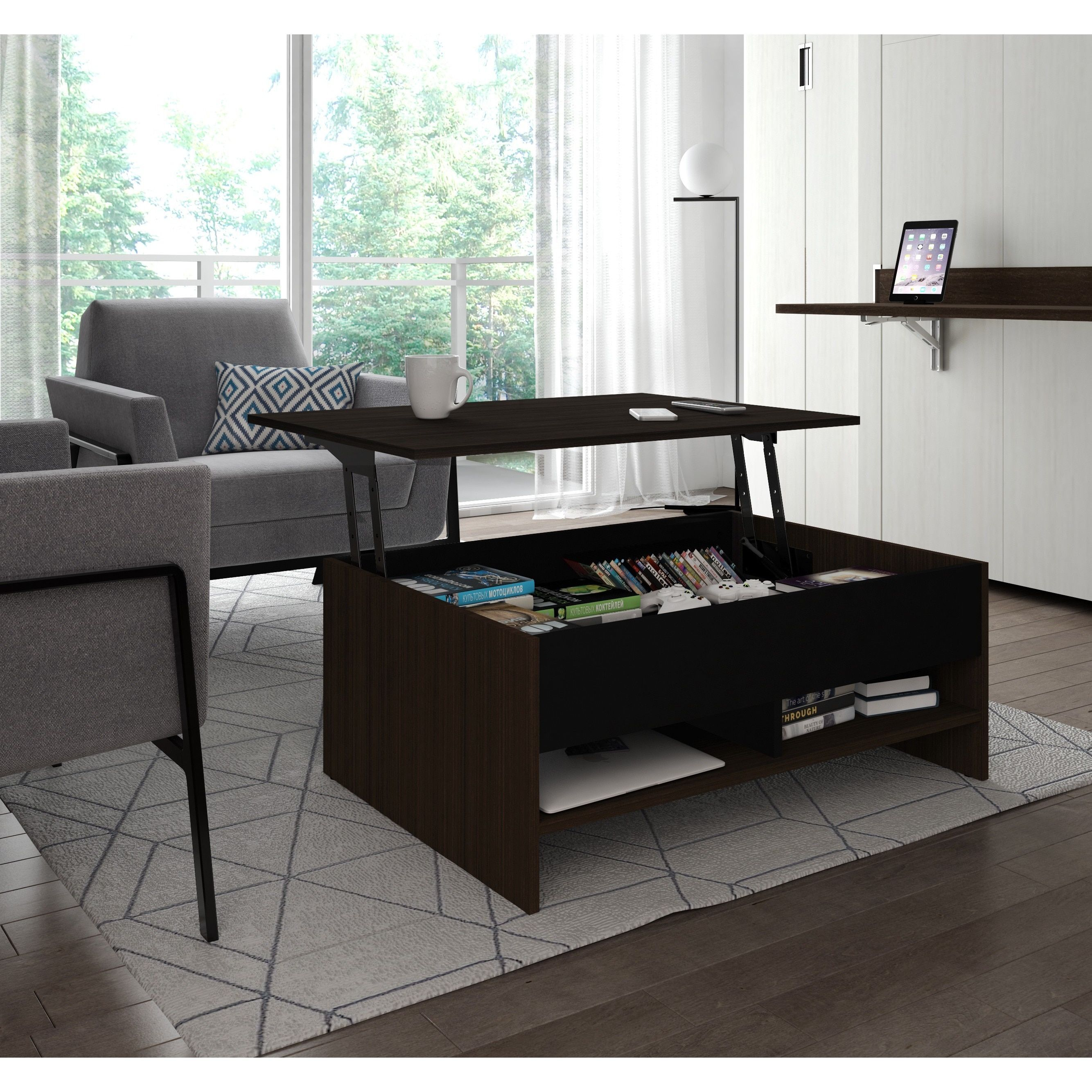 Bestar small space 37inch lifttop storage coffee table
