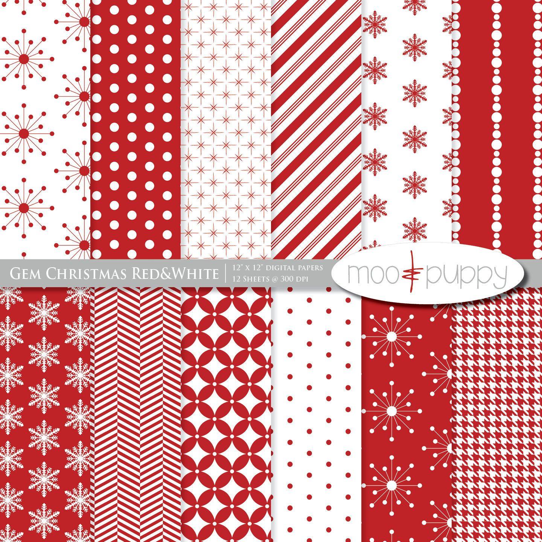 Scrapbook paper etsy - Christmas Digital Scrapbook Paper Pack Gem Christmas Red White Instant Download