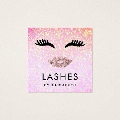 Lashes on faux sparkle makeup artist square business card makeup makeup business cards 7600 makeup business card templates reheart Image collections