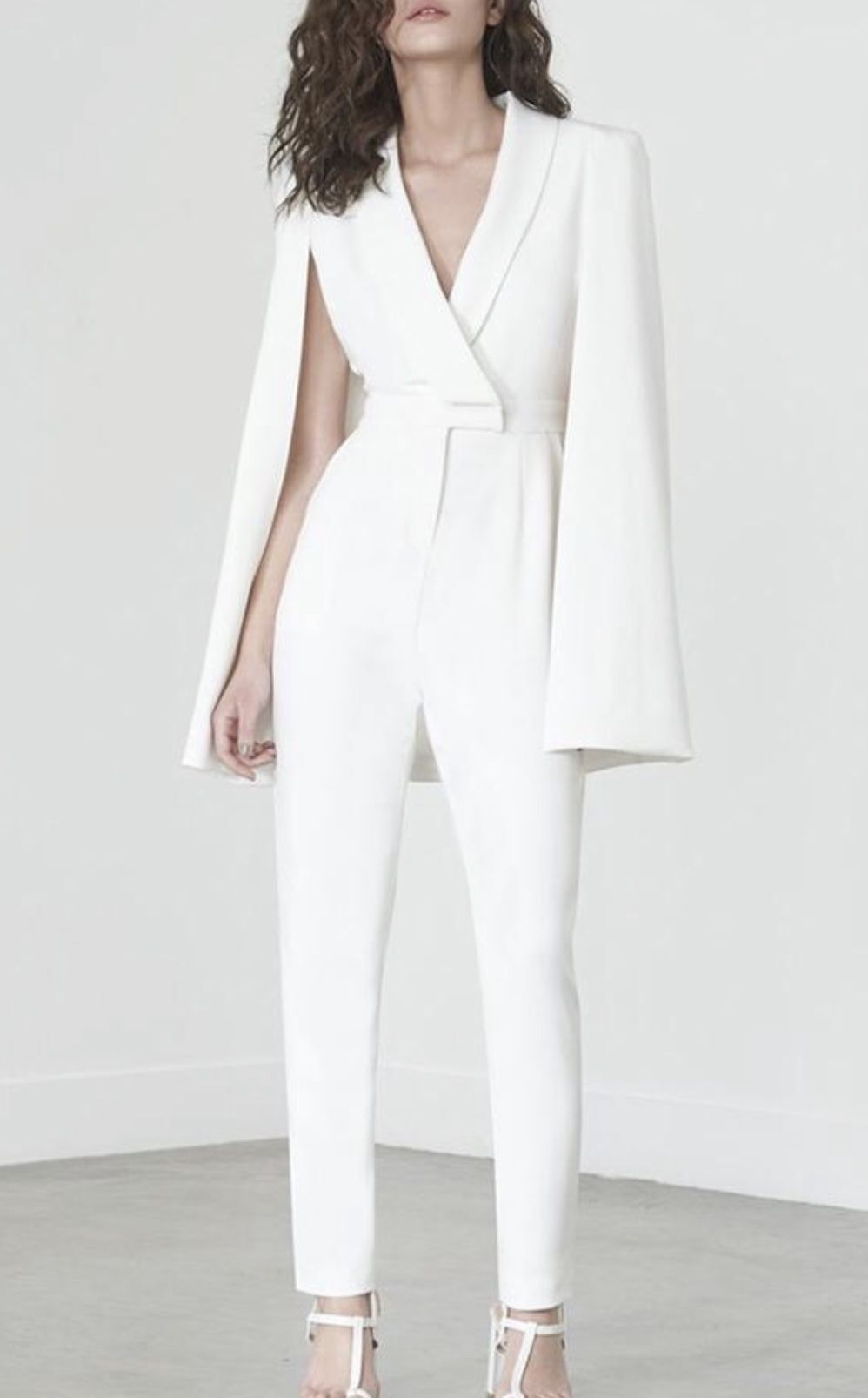 White Deep V Cape Sleeves Slinky Jumpsuit in My Style