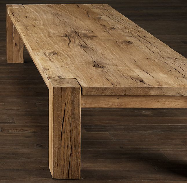 RHu0027s Reclaimed Russian Oak Parsons Coffee Table:Handcrafted Of Solid  Reclaimed White Oak Timbers From