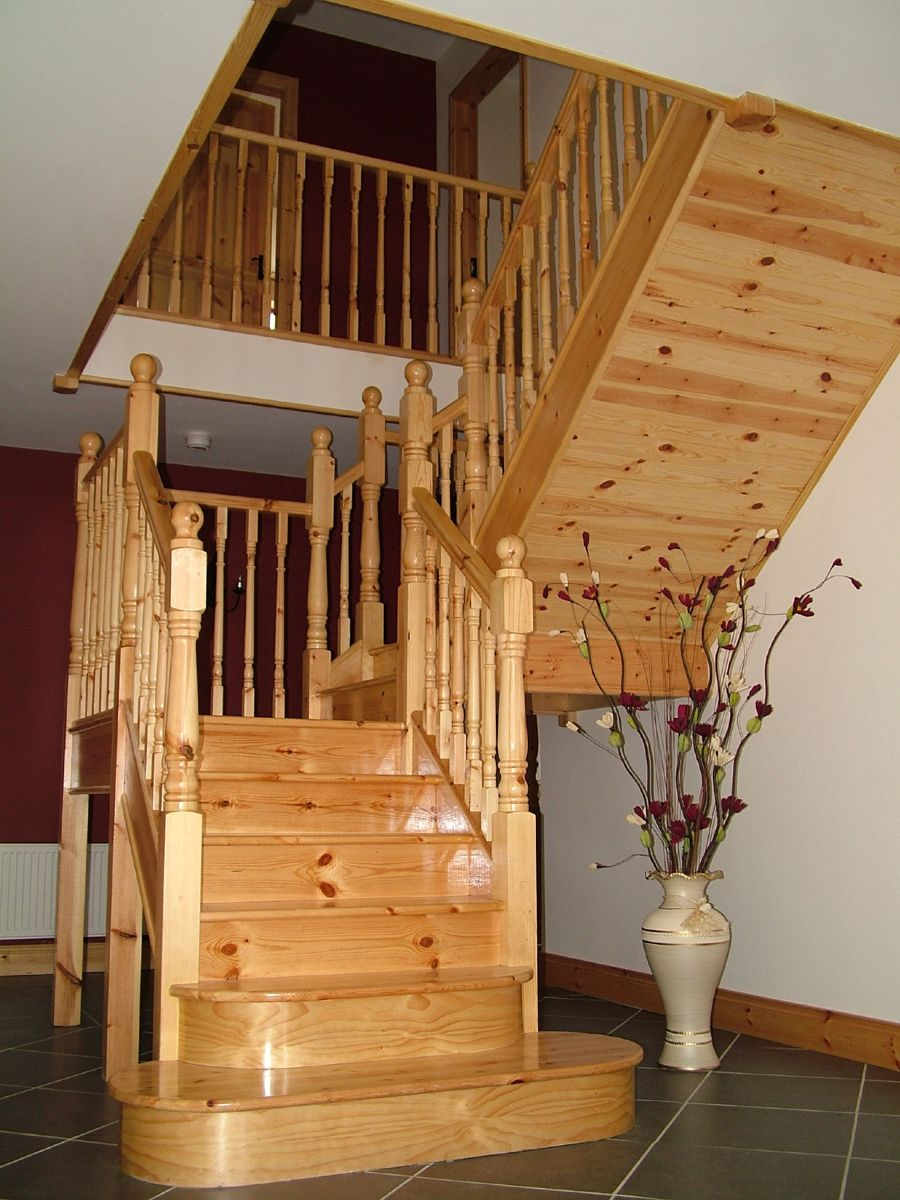 Staircases With Landings   Pine Stairs With Landing   Professional Building  Services From Nikok .