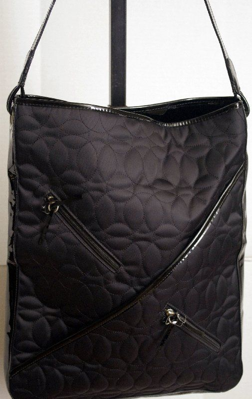 19 99 Chelsey Henry Quilted Laptop Tote With Patent Leather Trim
