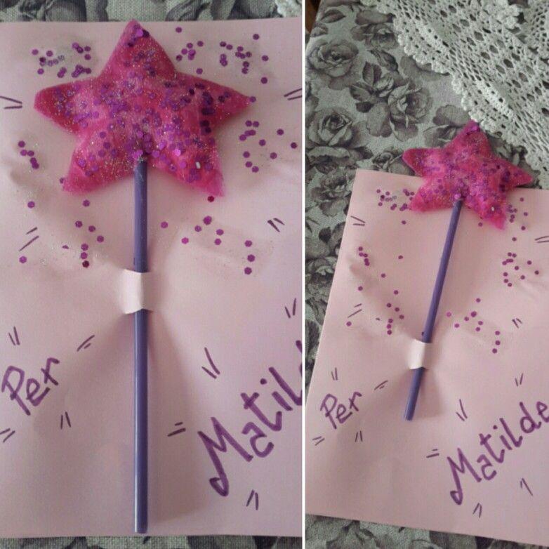 Bacchetta magica  bigliettino bimba con bacchetta magica che si sfila #magic #littlegirl #card #happybirthday #pink