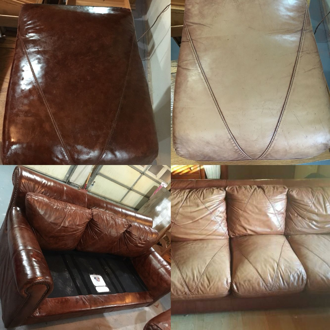 Leather Couch Rehabilitation With Dye + Conditioner + Hole Repairs