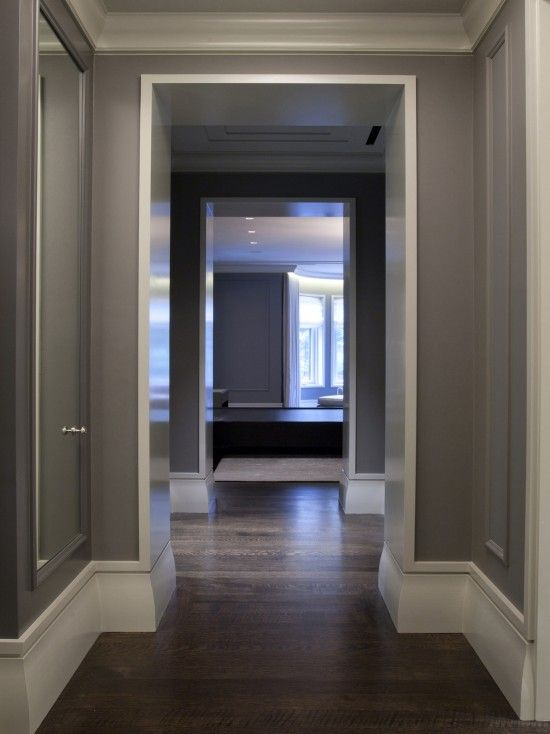 Dark grey works so well with the white high gloss woodwork I love