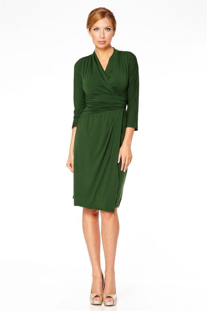 Knee Length Jersey Dress Ladies 3 4 sleeve v-neck smart casual Business Office  Dresses Cross over Womens  Amazon.co.uk  Clothing f3bb190abb75
