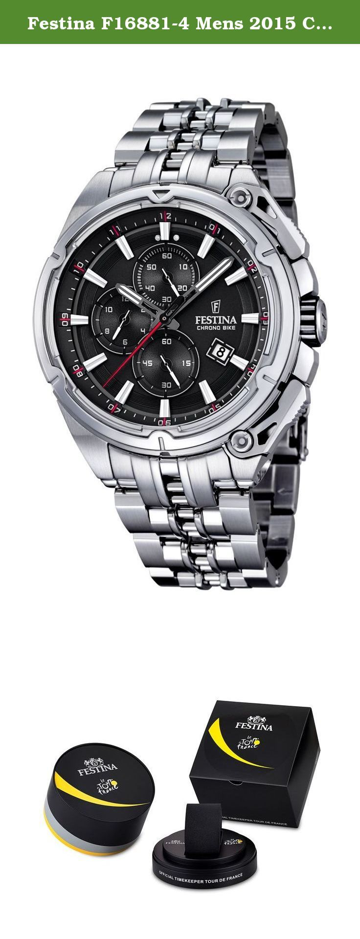 Festina F16881-4 Mens 2015 Chrono Bike Tour De France Silver Watch. Case - Case Material: Stainless Steel (brushed/polished) - Case Shape: Round - Case Colour: Silver - Bezel made of: Stainless Steel (brushed) - Crystal: Mineral crystal - Back: Srewed-in back Movement - Display Type: Chronograph (11hour, 59min, 59sec) - Movement: Quartz - Calendar: Date - Complications: 3: Chronograph: Hours, Minutes & small Second - Dial Colour: Black - Dial Style: Sun grinding - Illuminated: fluorescent...