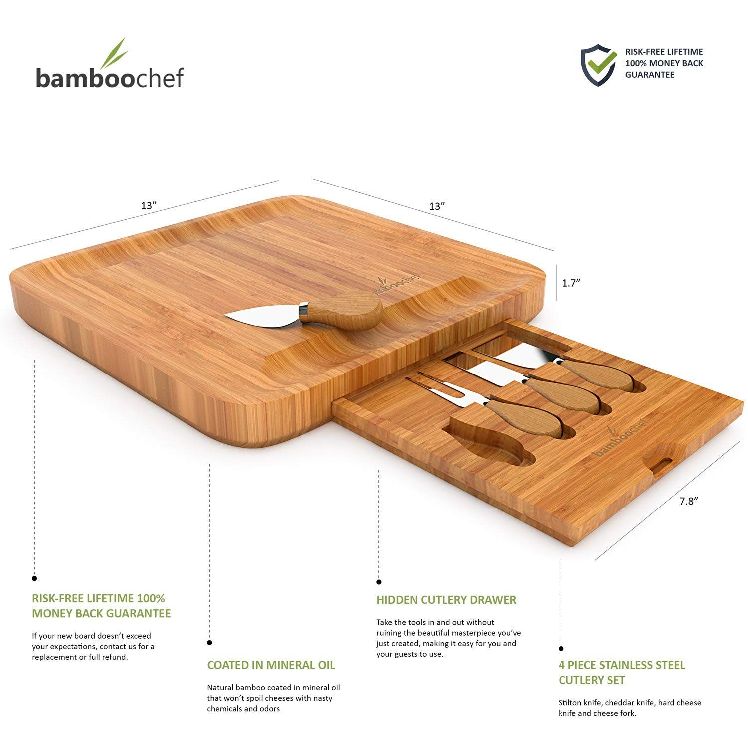 Bamboo Cheese Board with Cutlery Set Unique