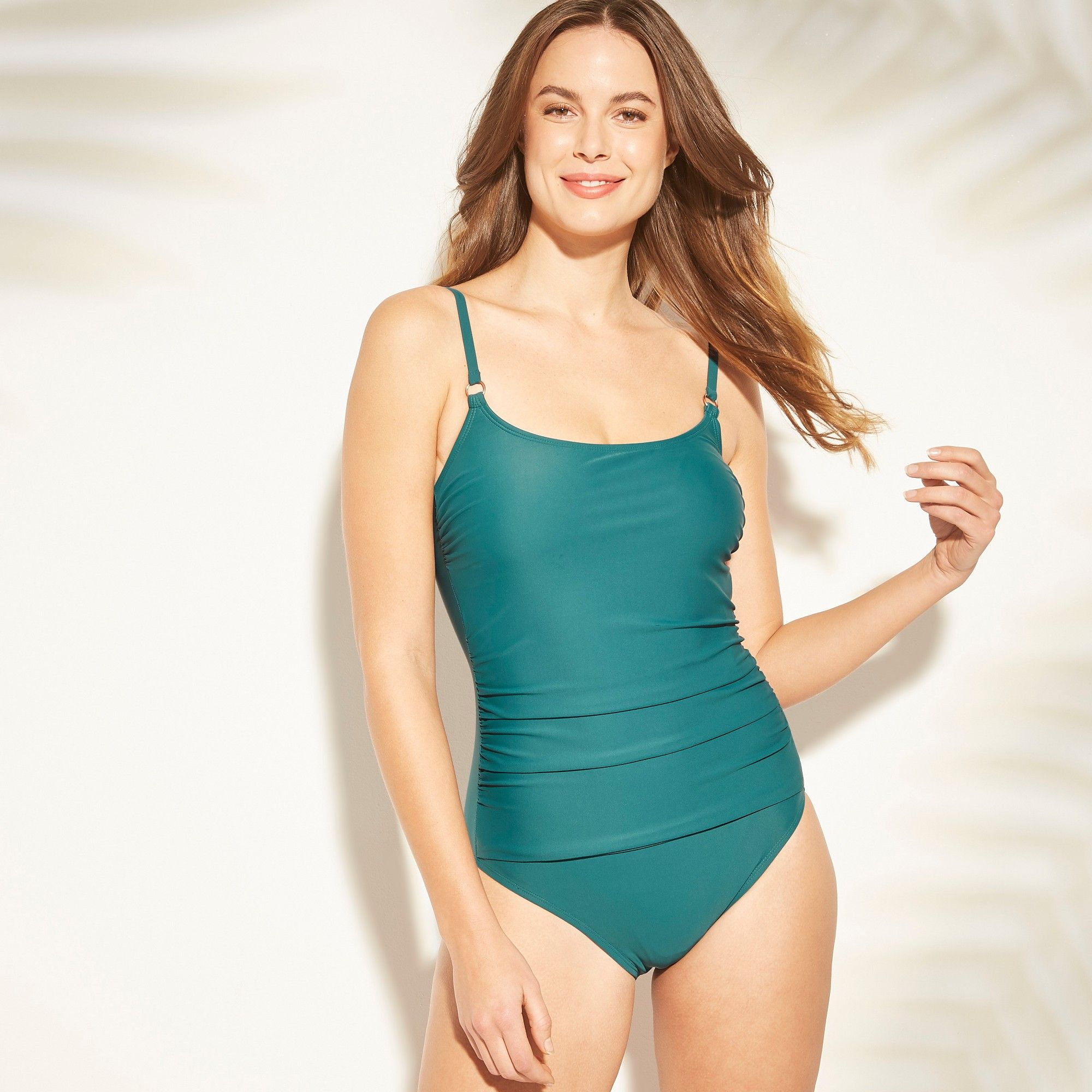 11ae5d84e02 Women's Shirred Strappy Back One Piece Swimsuit - Kona Sol Teal (Blue) XL