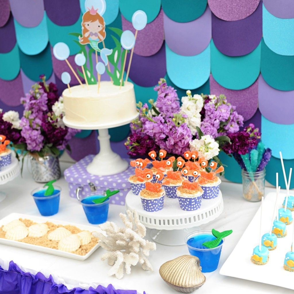 Mermaid party ideas.  DIY projects and cute food ideas for your next mermaid, beach or swim themed party. #kidsparties #partyideas #birthdayparties