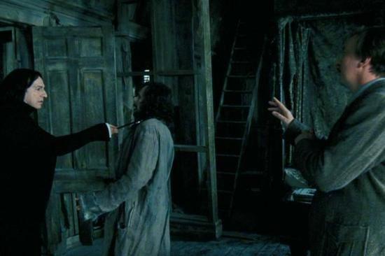 Severus Snape, Sirius Black and Remus Lupin in the Shrieking Shack