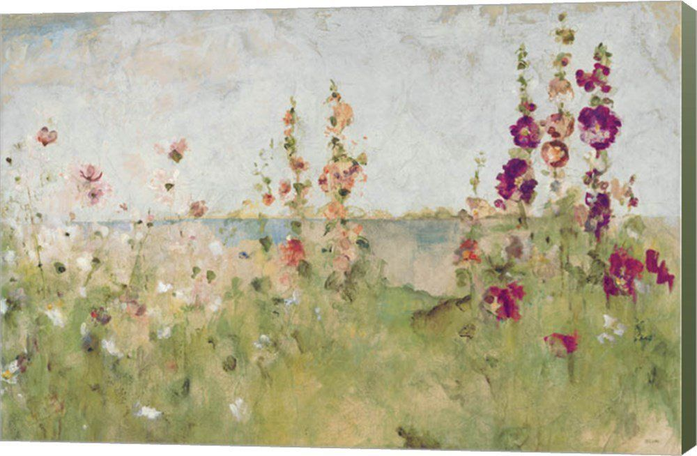 Hollyhocks By The Sea Cheri Blum Canvas Art Wall Picture