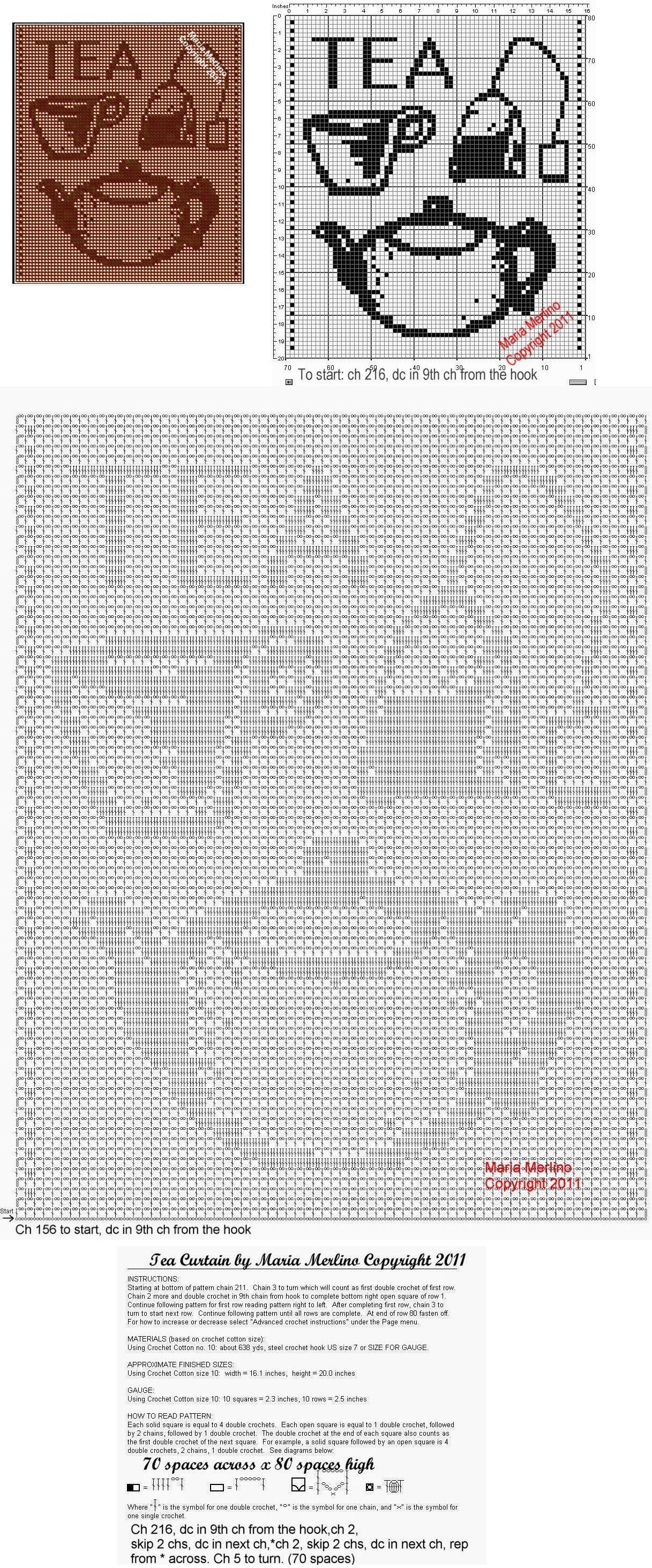 Filet Crochet: Filet Crochet a Tea Pot Curtain Free Pattern | filet ...