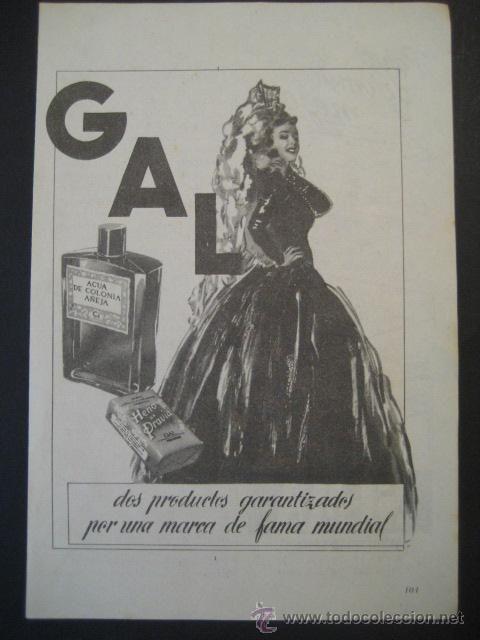Antigua publicidad anuncio colonias perfumes gal de los a os 50 coleccionismo carteles - Carteles publicitarios originales ...