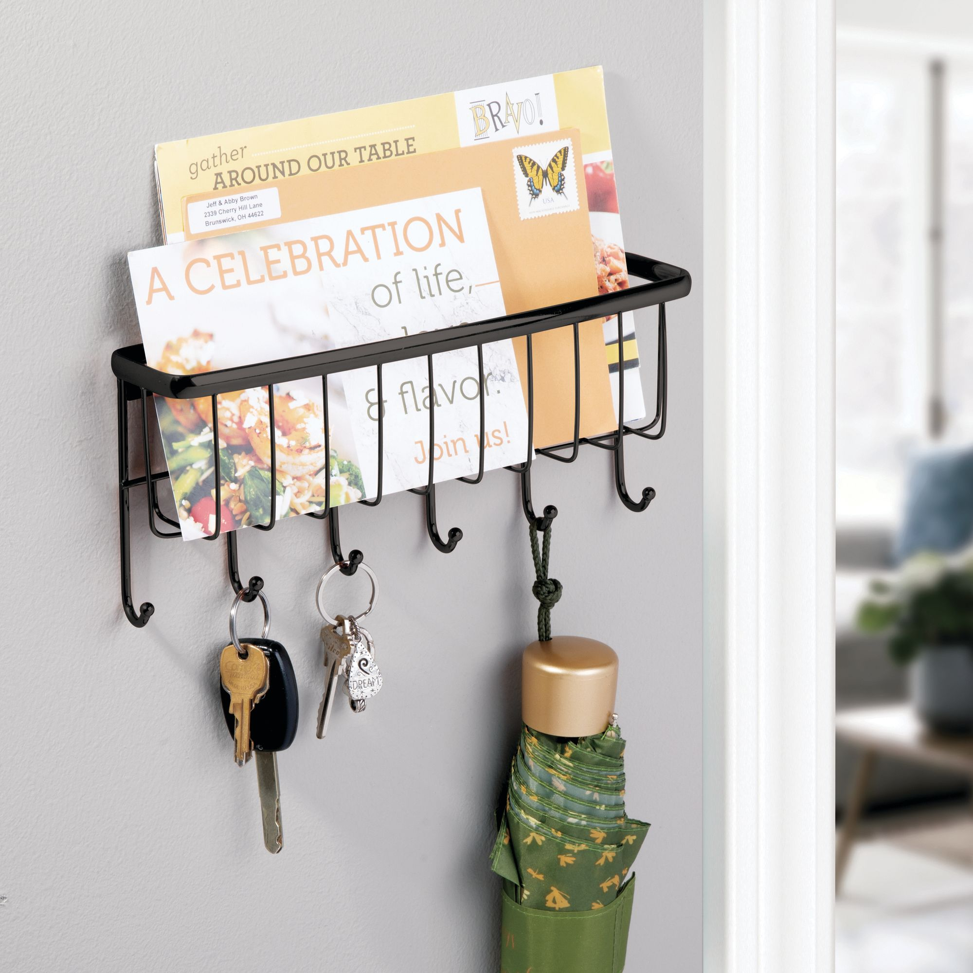 Graphite mDesign Modern Letter Holder Metal Wall Mounted Letter Rack with Key Hooks Post Sorter for The Entrance and Hallway
