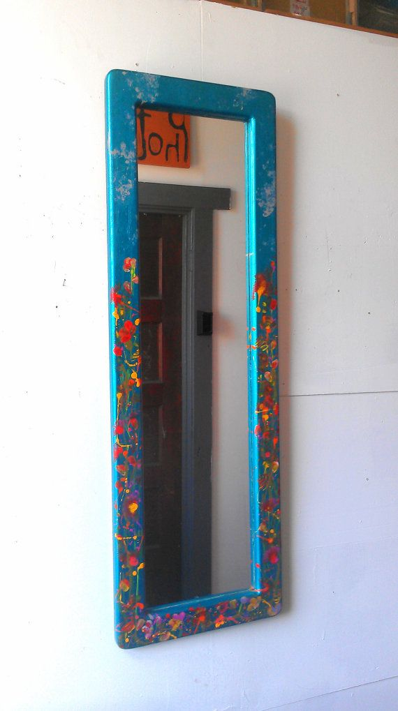 Long Framed Mirror with Hand Painted Spring by SecretWindowMirrors ...