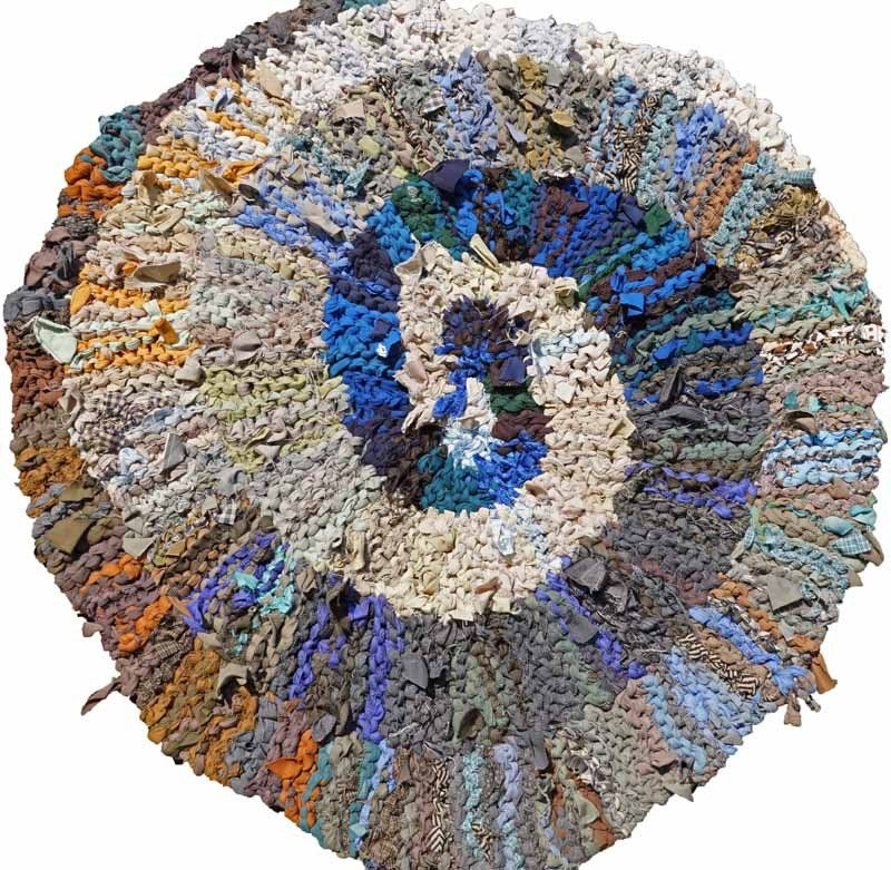 Blue & Brown Spiral Rag Rug, 36""