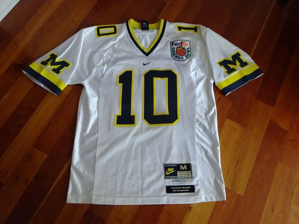 8e83c8d635367e NIKE Tom Brady Michigan  10 White Stitched Bowl Greats Orange Bowl Jersey M  NICE (eBay Link)