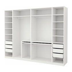 IKEA - PAX, Vaatekaappi, 300x58x236 cm, , 10 vuoden takuu. Lisätietoja ja takuuehdot takuuvihkosessa.Tätä valmista PAX/KOMPLEMENT-kokonaisuutta on helppo muokata omia tarpeita vastaavaksi PAX-suunnittelutyökalun avulla.Jotta tavarat olisi helppo pitää järjestyksessä, kaappiin kannattaa hankkia KOMPLEMENT-sarjan sisusteita.Säädettävien jalkojen ansiosta seisoo tukevasti myös epätasaisella alustalla.