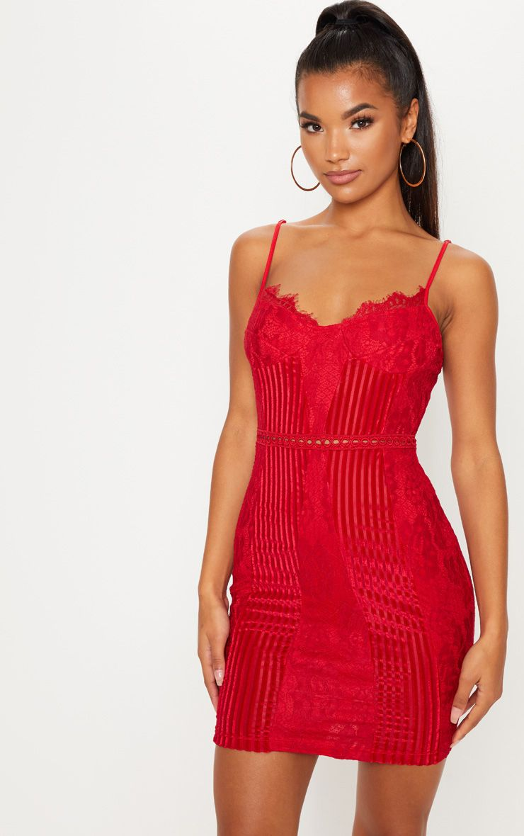 1342b999f54 Red Strappy Lace Velvet Insert Bodycon DressAdd a pop of red to your  weekend wardrobe this season.
