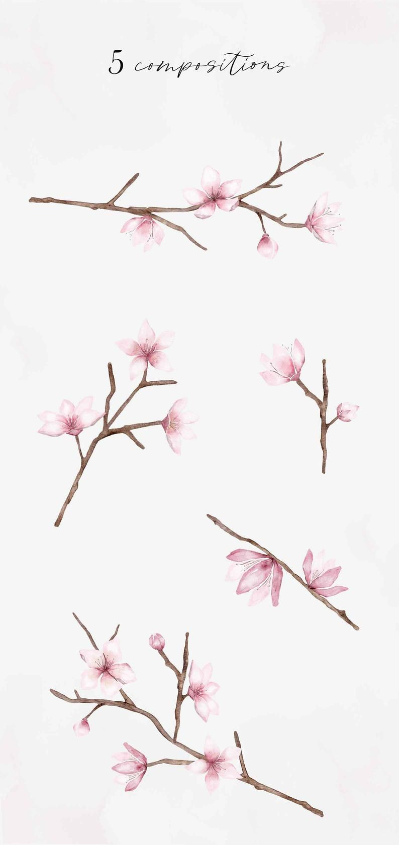 Watercolor Cherry Blossom Branches Botanical Foliage Leaves Etsy In 2021 Cherry Blossom Art Cherry Blossom Branch Cherry Blossom Painting