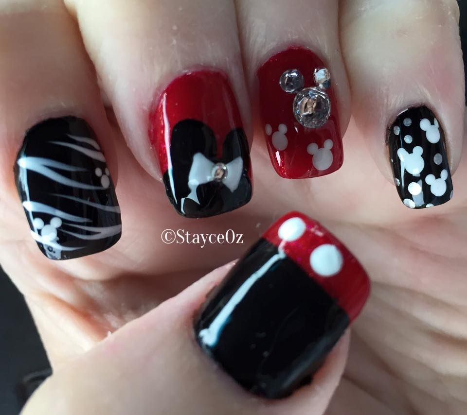 Disney Nail Art, Mickey themed Nail Design, Animal Zebra Print Nails ...