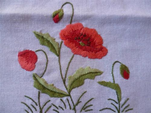 Charming Red Poppies Vintage Hand Embroidered Supper Tablecloth | eBay