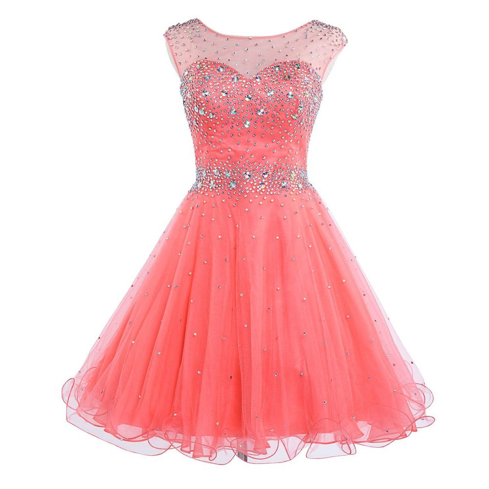 Peach dress for wedding guest   Maid of Honer Beading Crystals Watermelon Tulle wedding Guest