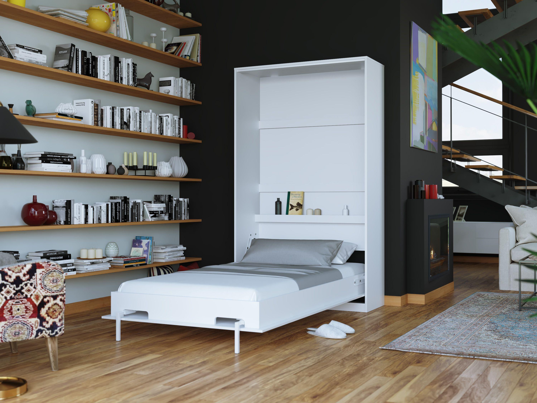 Folding Wall Bed Smartbett Basic 90x200 Vertical White White High