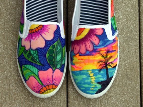 Hand painted shoes, sneakers, tropical art, original art, OOAK, women's sneakers, Custom sneakers, hand painted. ArtworksEclectic on etsy