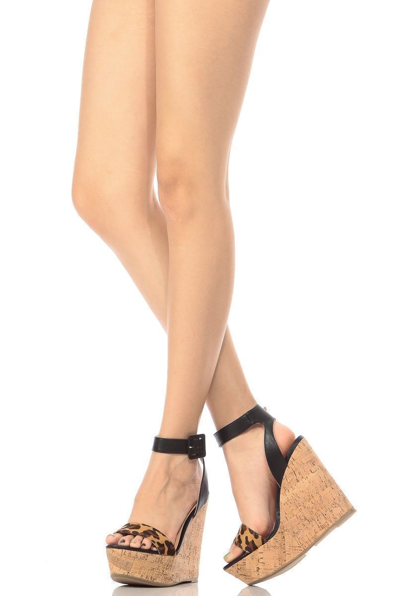 251b9b696c36 Natural Leopard Contrast Ankle Strap Cork Wedges   Cicihot Wedges Shoes  Store Wedge Shoes