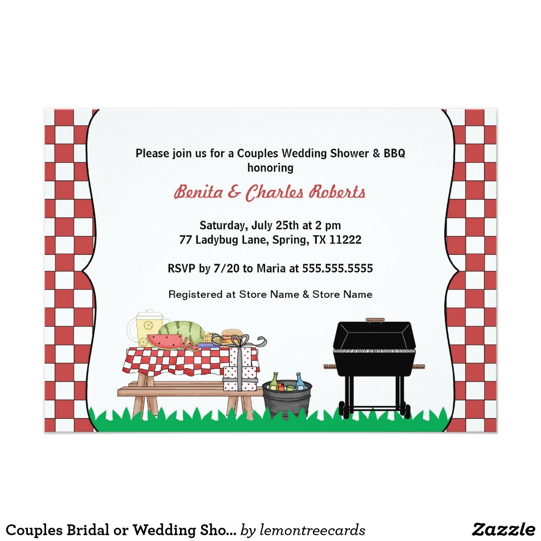 Couples Bridal or Wedding Shower & BBQ invite | Bridal showers ...