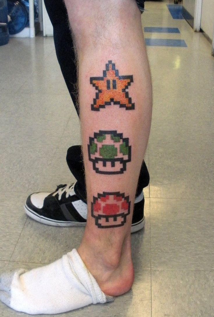 Super Mario Star And Mushroom Tattoos Tattoos Pinterest