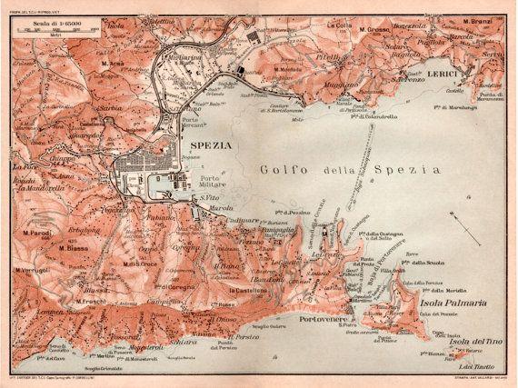 1916 La Spezia Italy Antique Map Vintage Lithograph By
