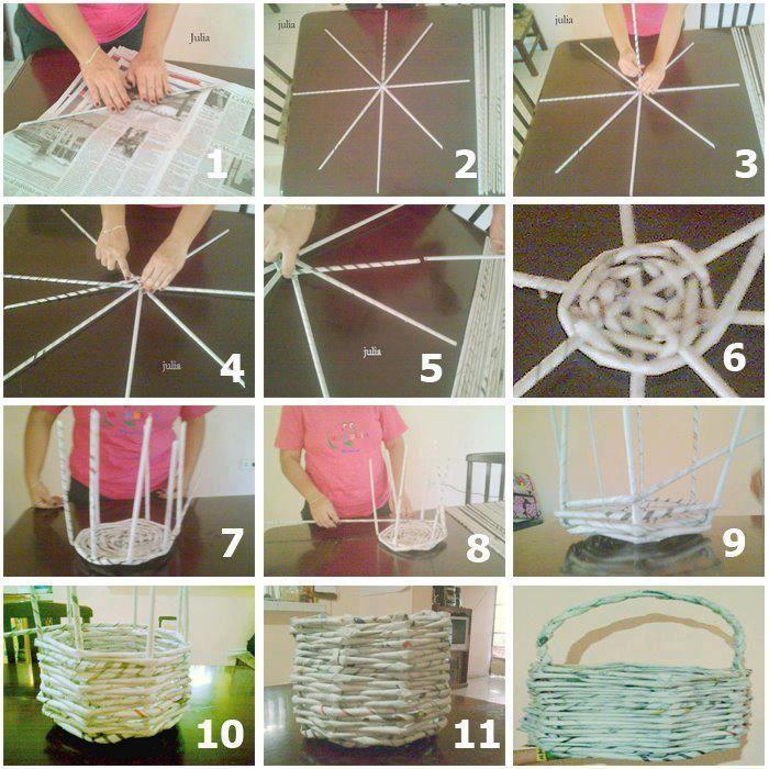 Como hacer un cesto con papel de periodico canasta papel sobres de papel cesta de papel y - Hacer cestas con papel de periodico ...